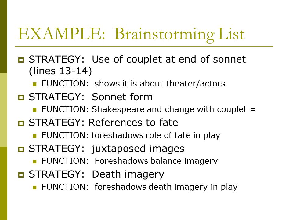 EXAMPLE: Brainstorming List