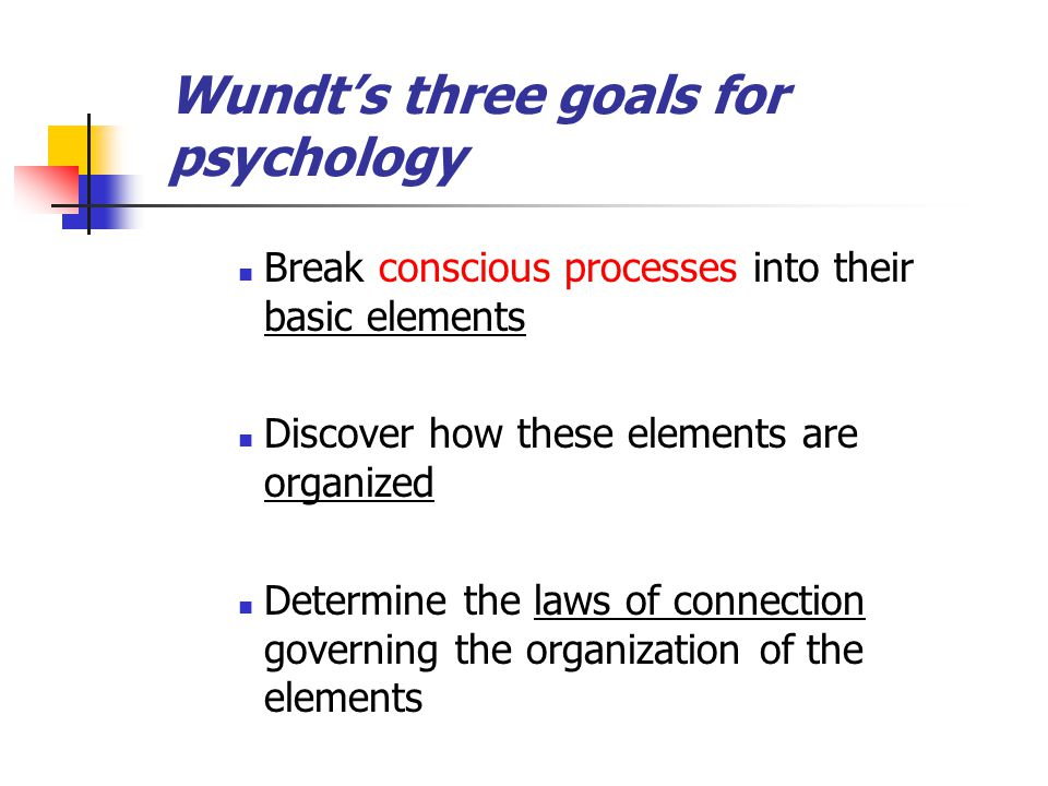 Wundt's three goals for psychology