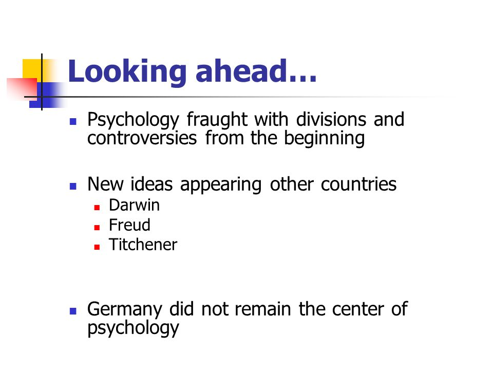 Looking ahead… Psychology fraught with divisions and controversies from the beginning. New ideas appearing other countries.