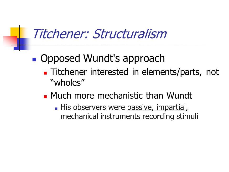 Titchener: Structuralism