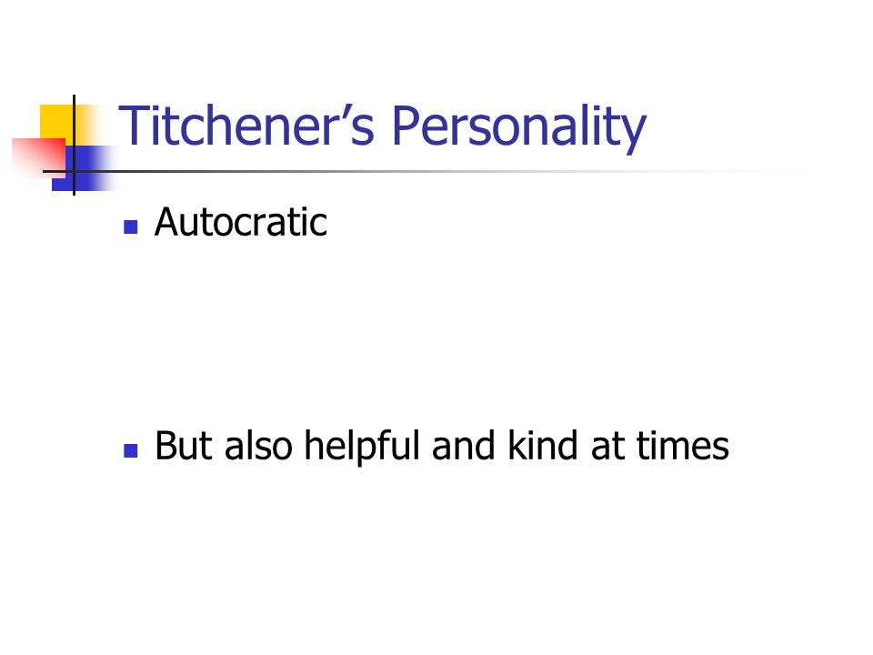 Titchener's Personality