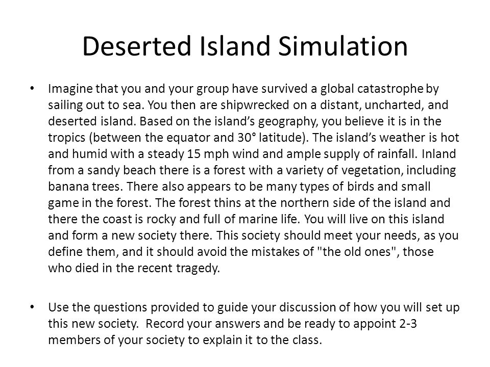 Deserted Island Simulation