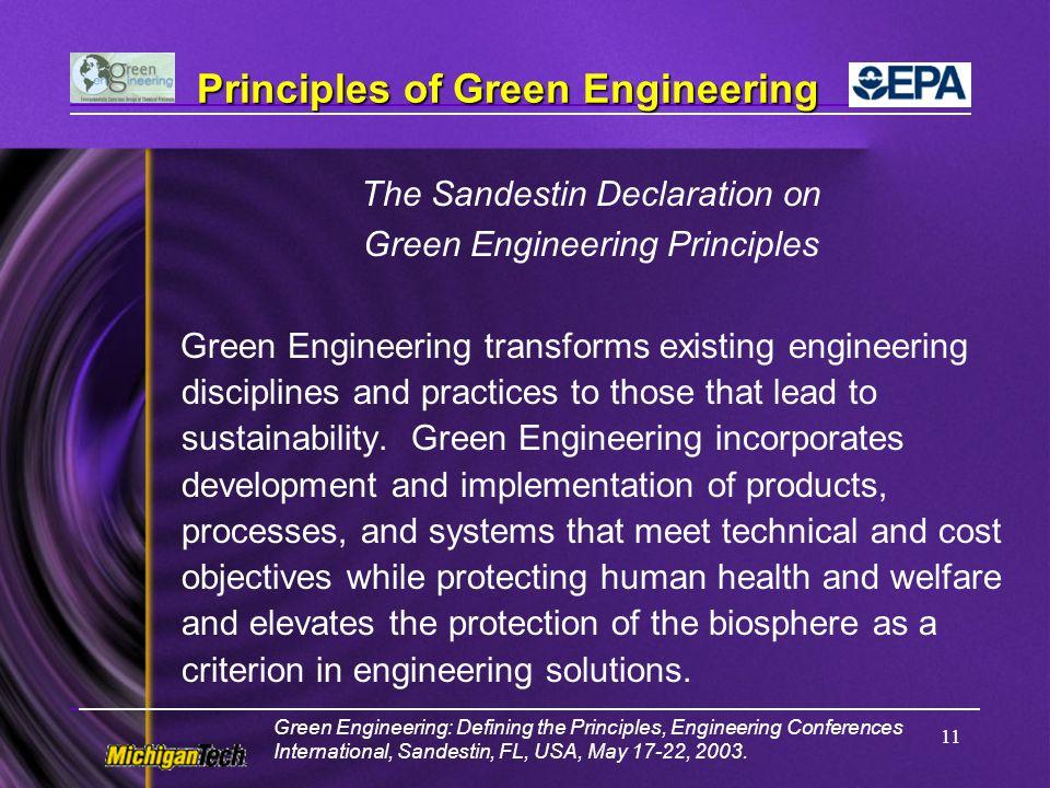 Principles of Green Engineering