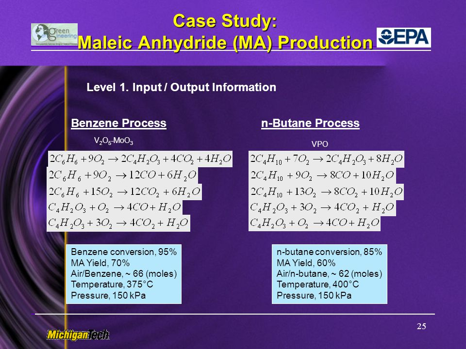 Case Study: Maleic Anhydride (MA) Production