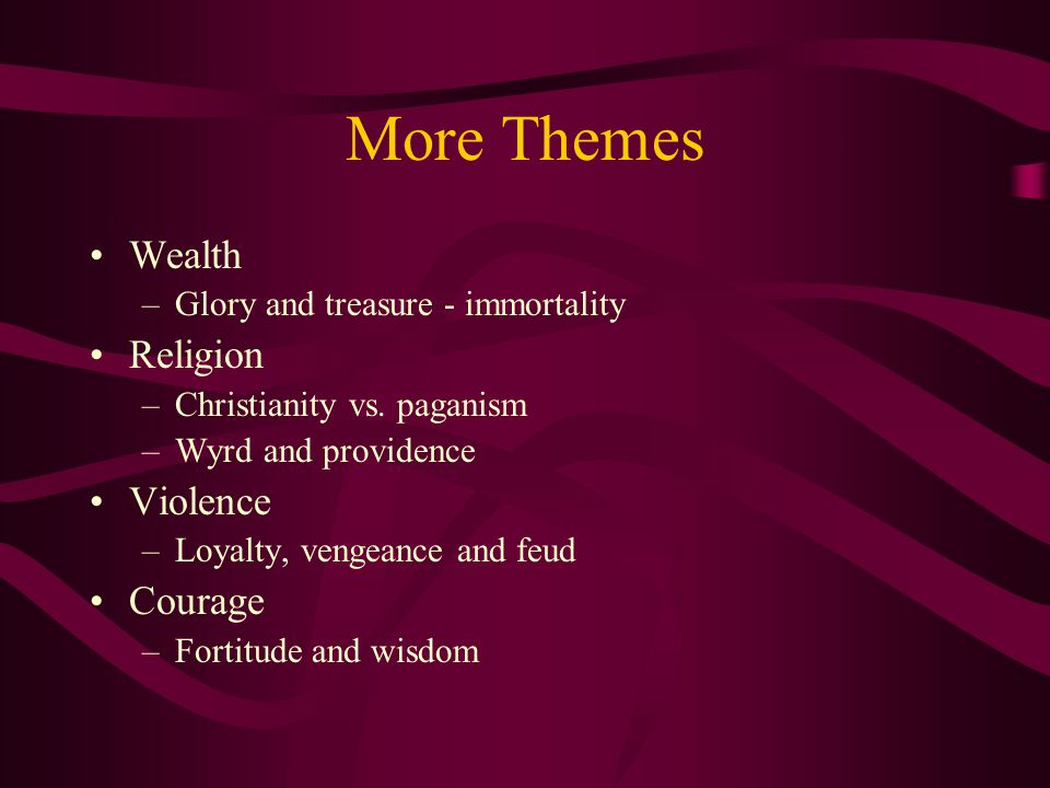 More Themes Wealth Religion Violence Courage