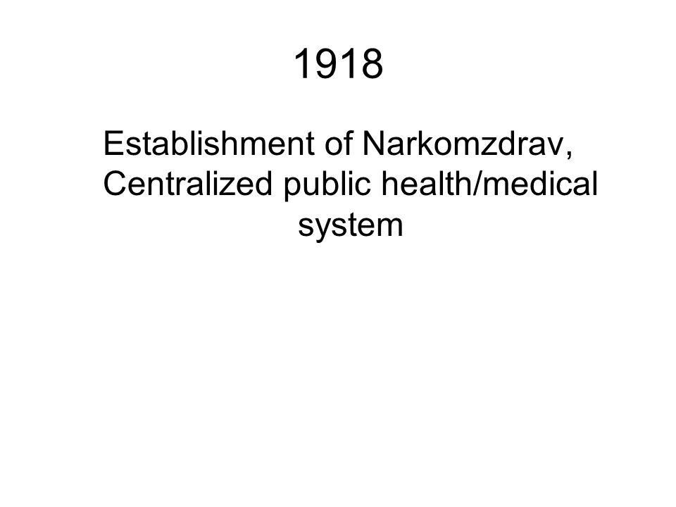 Establishment of Narkomzdrav, Centralized public health/medical system