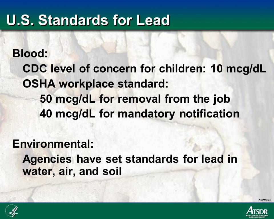 U.S. Standards for Lead Blood: