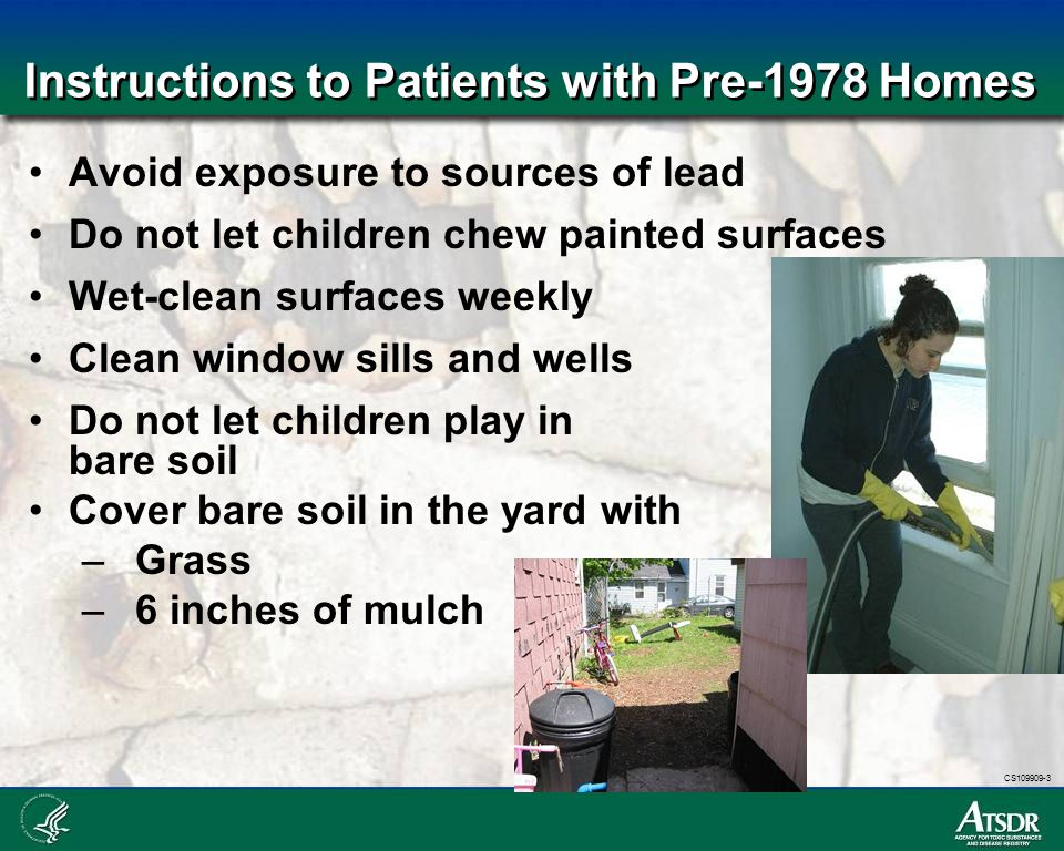 Instructions to Patients with Pre-1978 Homes