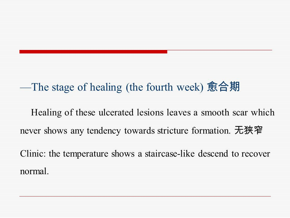 —The stage of healing (the fourth week) 愈合期
