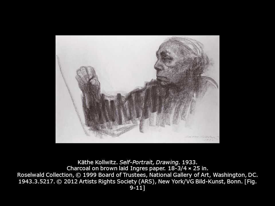 Käthe Kollwitz. Self-Portrait, Drawing. 1933