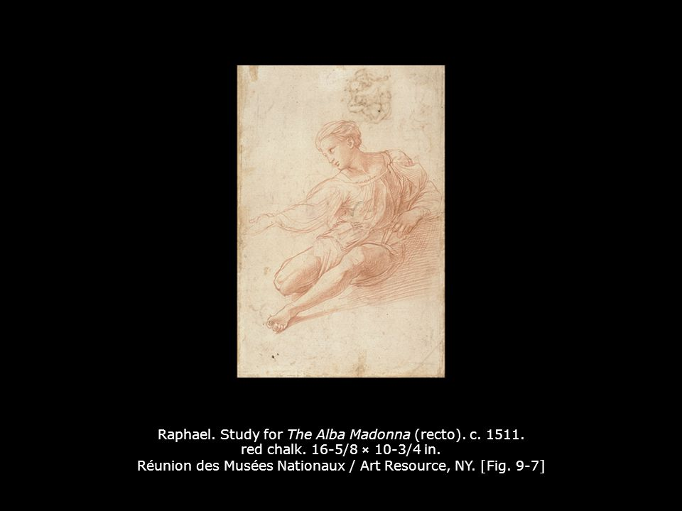 Raphael. Study for The Alba Madonna (recto). c. 1511. red chalk