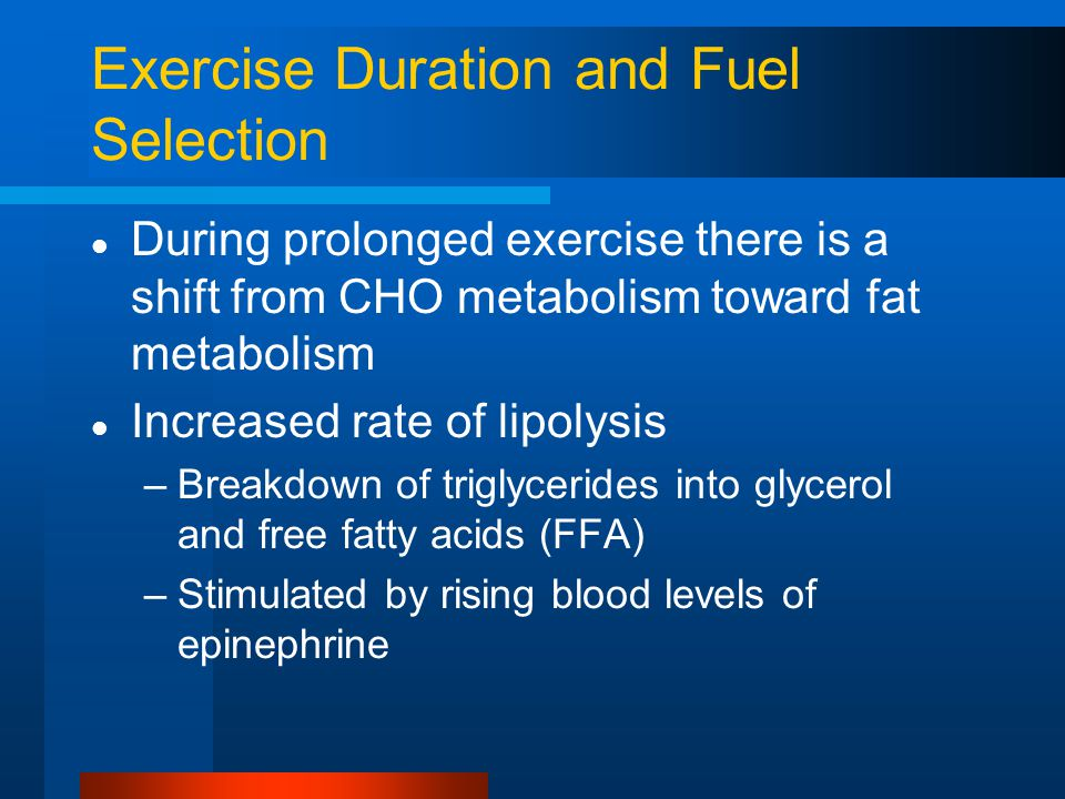 Exercise Duration and Fuel Selection