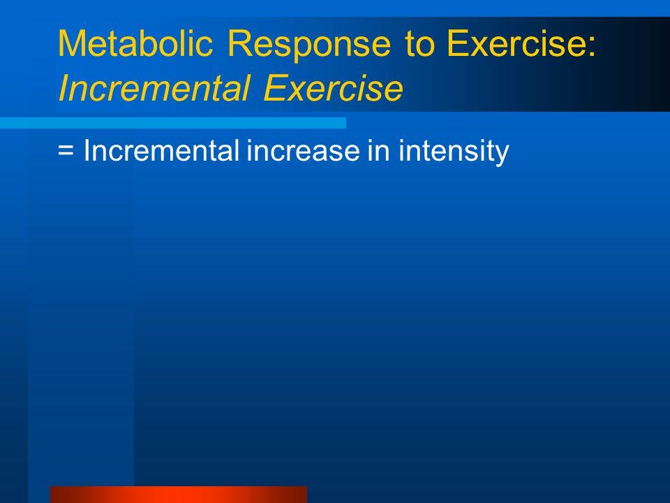 Metabolic Response to Exercise: Incremental Exercise