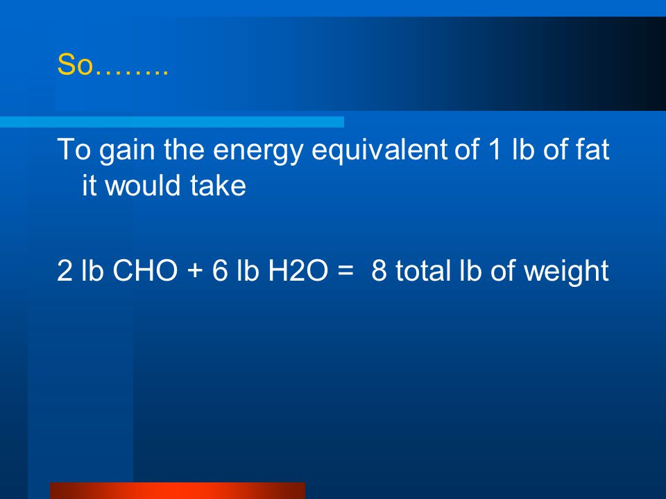 So…….. To gain the energy equivalent of 1 lb of fat it would take.
