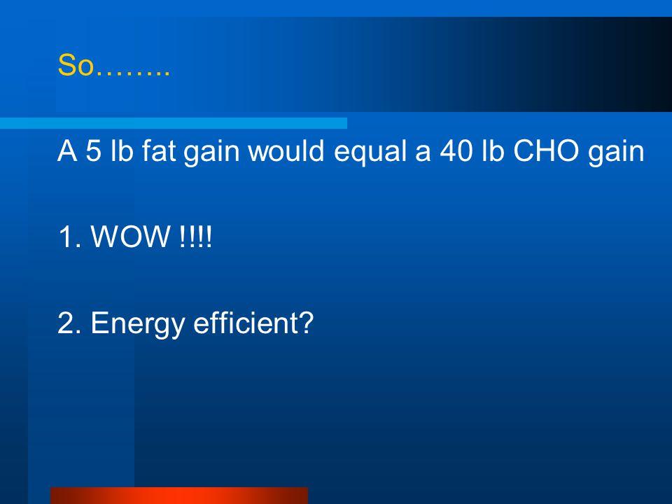So…….. A 5 lb fat gain would equal a 40 lb CHO gain 1. WOW !!!! 2. Energy efficient