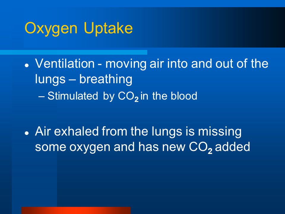 Oxygen Uptake Ventilation - moving air into and out of the lungs – breathing. Stimulated by CO2 in the blood.