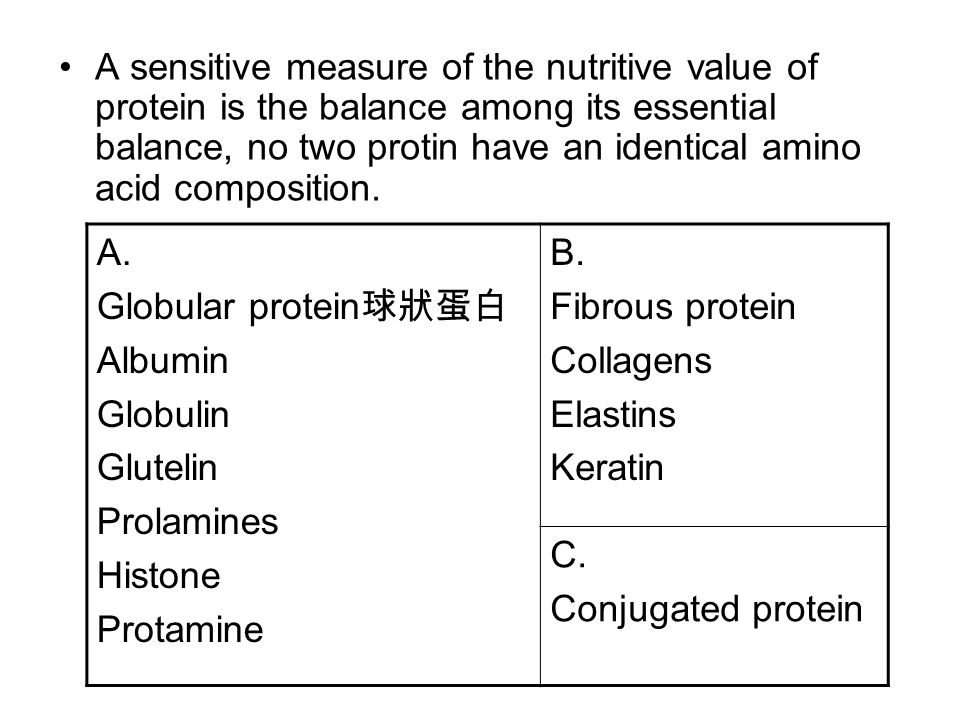 A sensitive measure of the nutritive value of protein is the balance among its essential balance, no two protin have an identical amino acid composition.