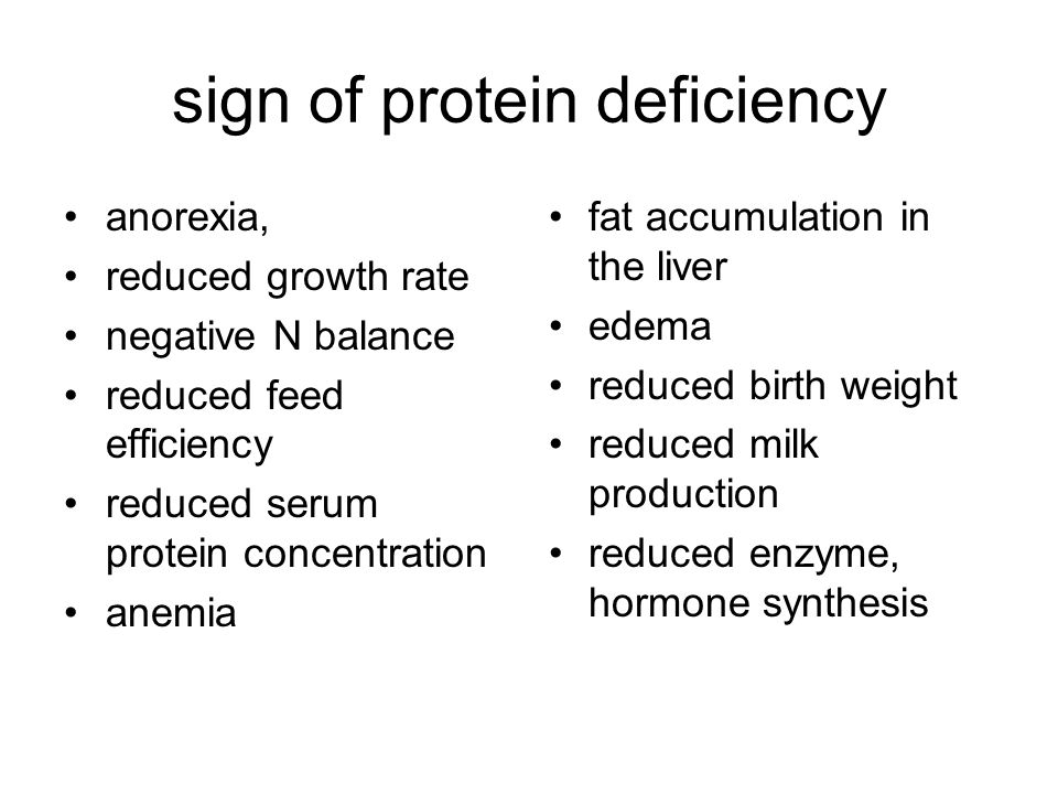 sign of protein deficiency