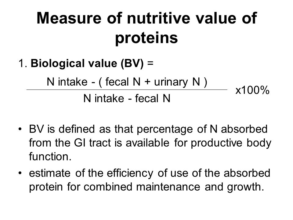 Measure of nutritive value of proteins