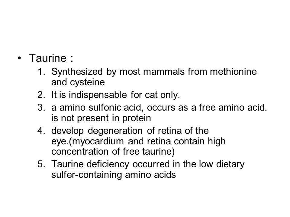 Taurine : Synthesized by most mammals from methionine and cysteine
