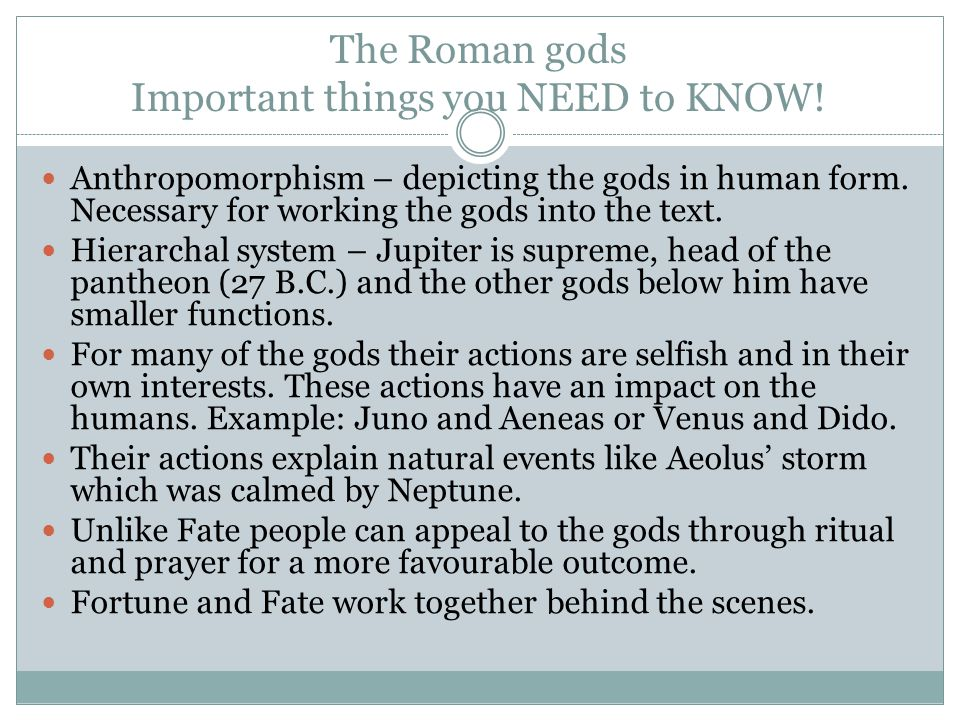The Roman gods Important things you NEED to KNOW!