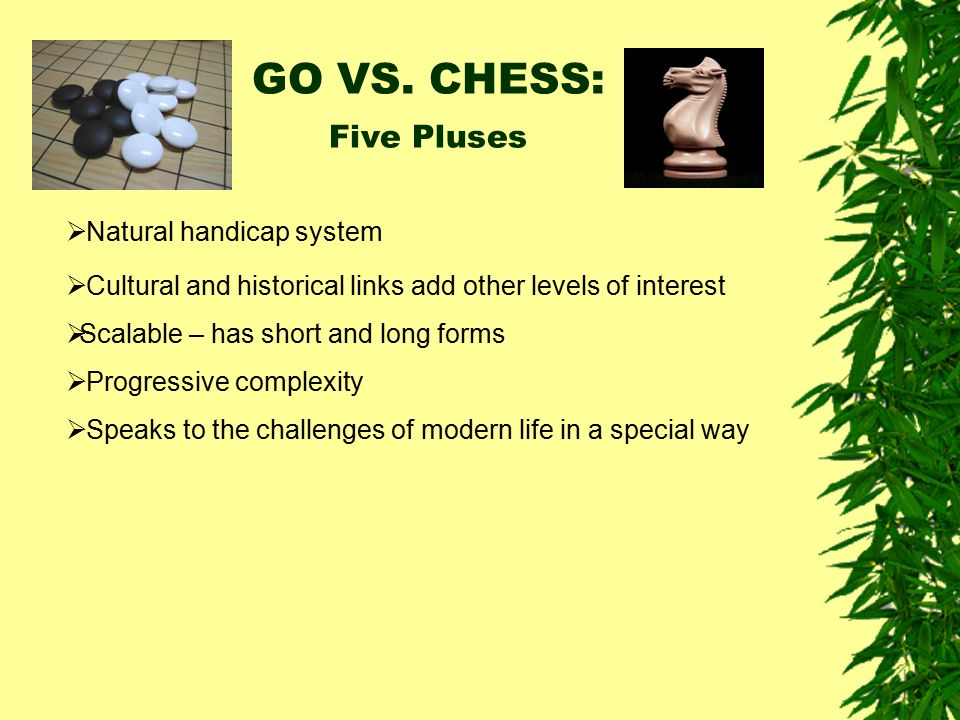 GO VS. CHESS: Five Pluses Natural handicap system