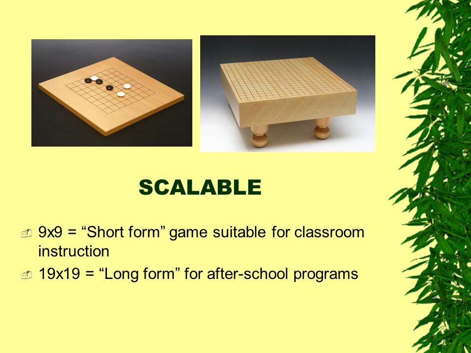 SCALABLE 9x9 = Short form game suitable for classroom instruction