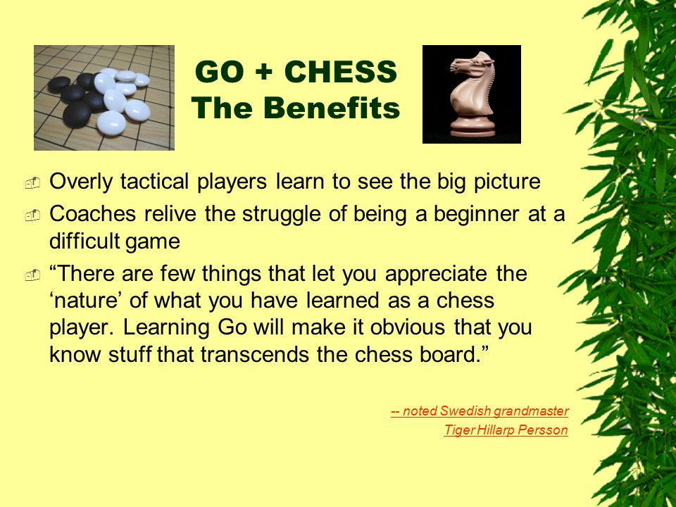 GO + CHESS The Benefits Overly tactical players learn to see the big picture. Coaches relive the struggle of being a beginner at a difficult game.