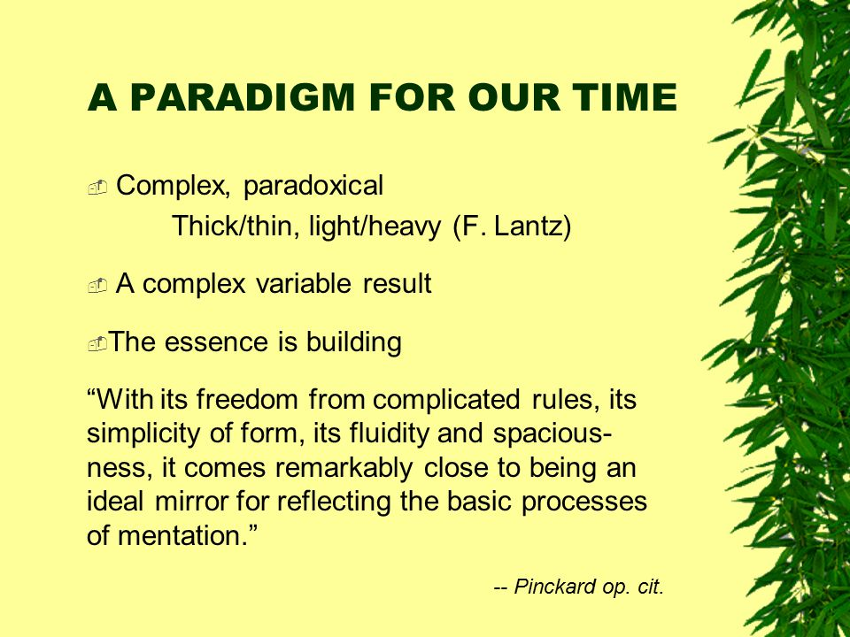 A PARADIGM FOR OUR TIME Complex, paradoxical