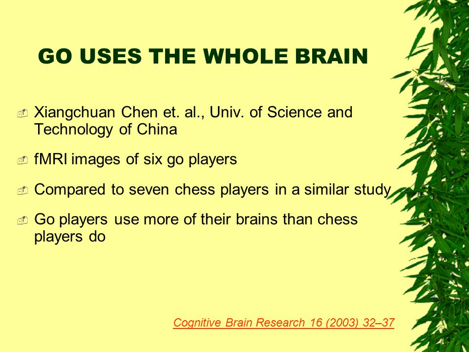 GO USES THE WHOLE BRAIN Xiangchuan Chen et. al., Univ. of Science and Technology of China. fMRI images of six go players.