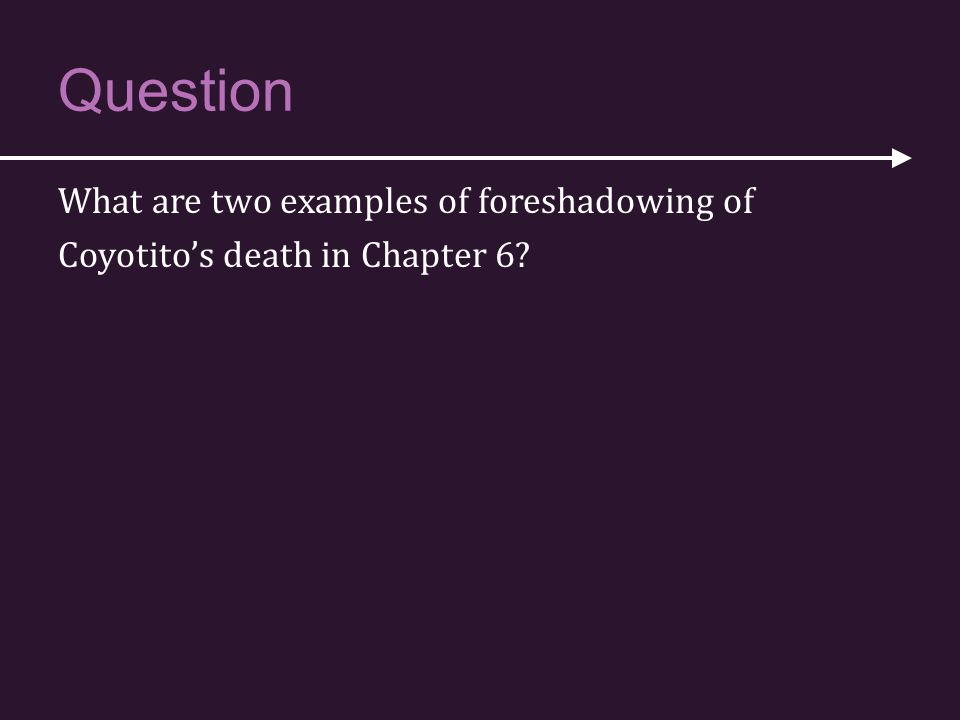 Question What are two examples of foreshadowing of Coyotito's death in Chapter 6 P: Here's the question that we will answer in this slideshow.