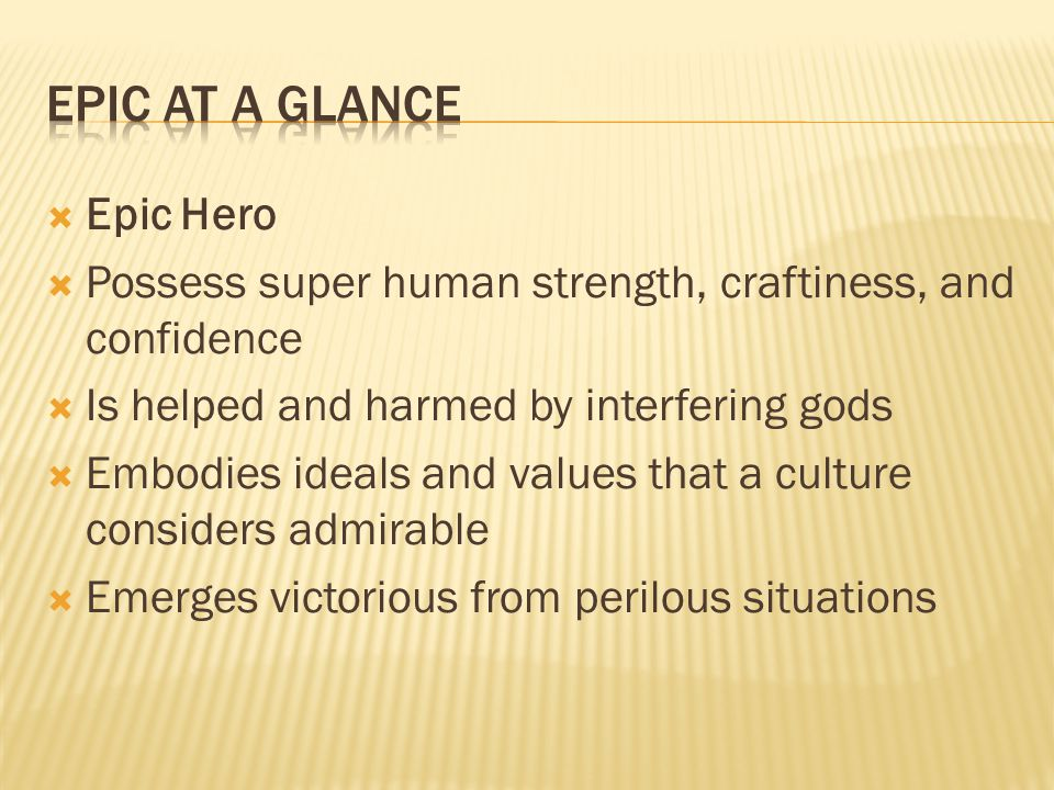 Epic at a Glance Epic Hero