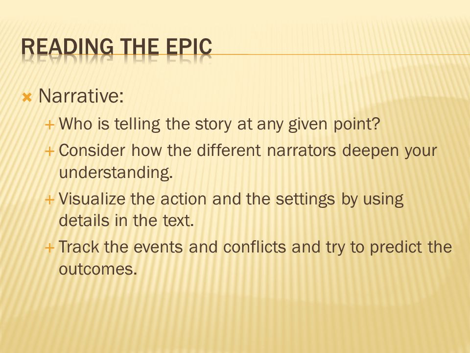 Reading the Epic Narrative: