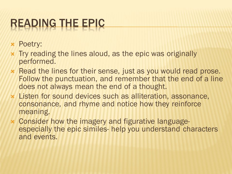 Reading the Epic Poetry: