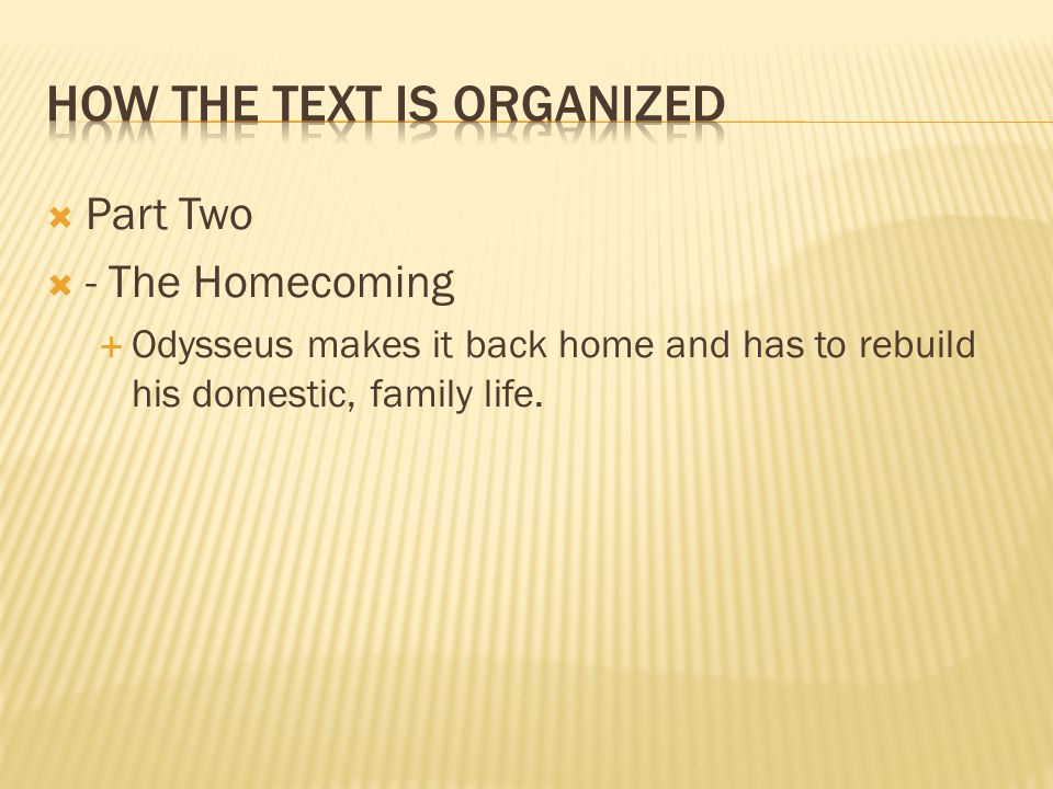 How the text is Organized