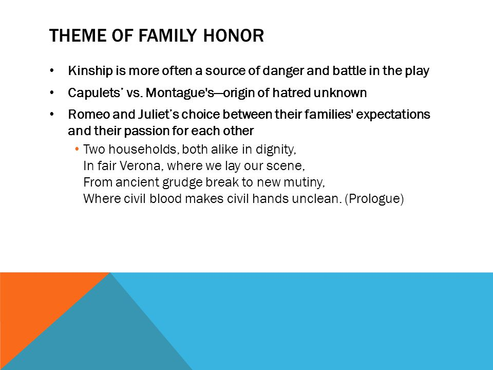 Theme of Family Honor Kinship is more often a source of danger and battle in the play. Capulets' vs. Montague s—origin of hatred unknown.