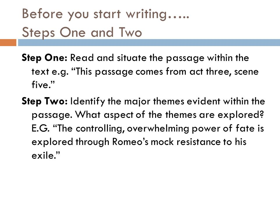 Before you start writing….. Steps One and Two