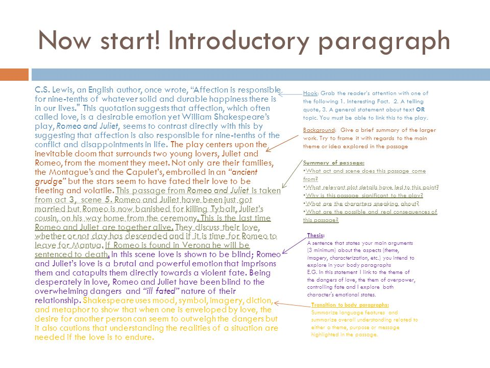 Now start! Introductory paragraph