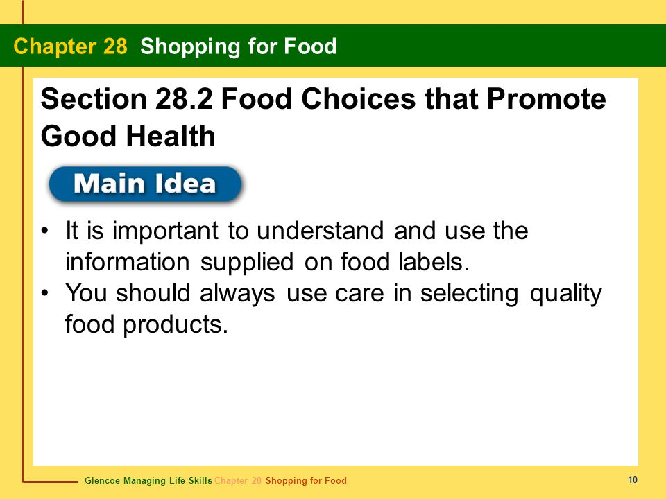 Section 28.2 Food Choices that Promote Good Health
