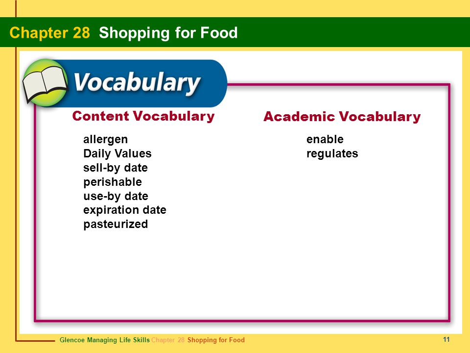 Content Vocabulary Academic Vocabulary allergen Daily Values