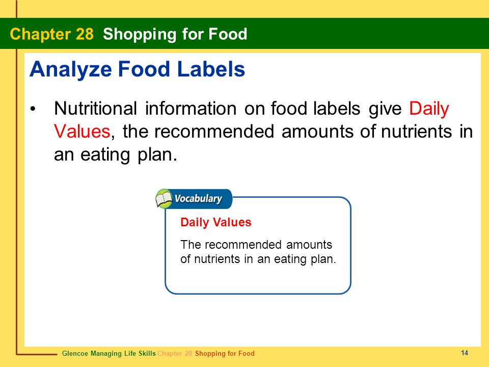 Analyze Food Labels Nutritional information on food labels give Daily Values, the recommended amounts of nutrients in an eating plan.