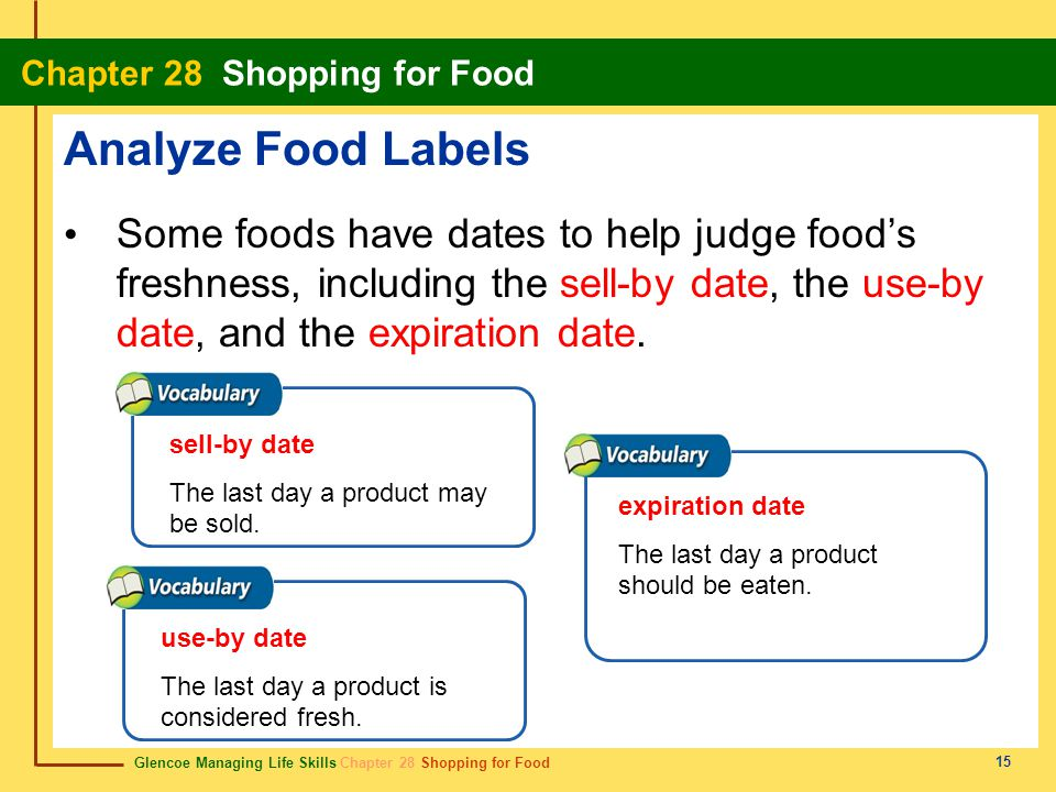 Analyze Food Labels Some foods have dates to help judge food's freshness, including the sell-by date, the use-by date, and the expiration date.