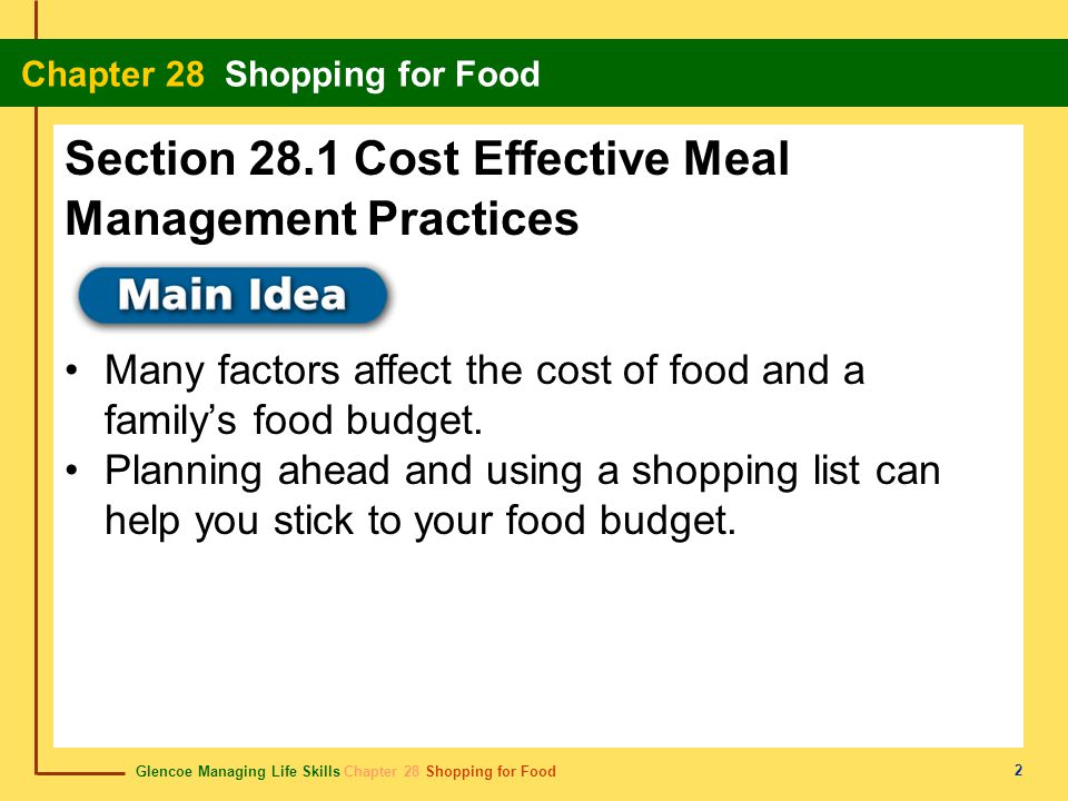 Section 28.1 Cost Effective Meal Management Practices