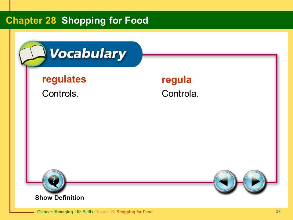 regulates regula Controls. Controla. Show Definition