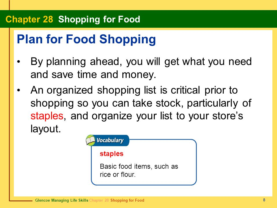 Plan for Food Shopping By planning ahead, you will get what you need and save time and money.