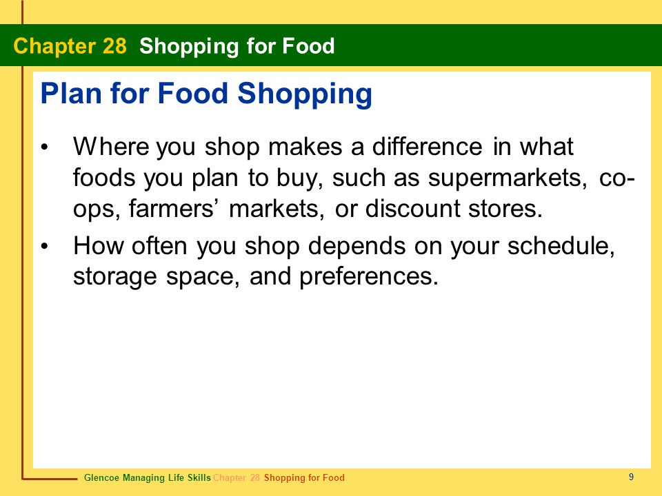 Plan for Food Shopping
