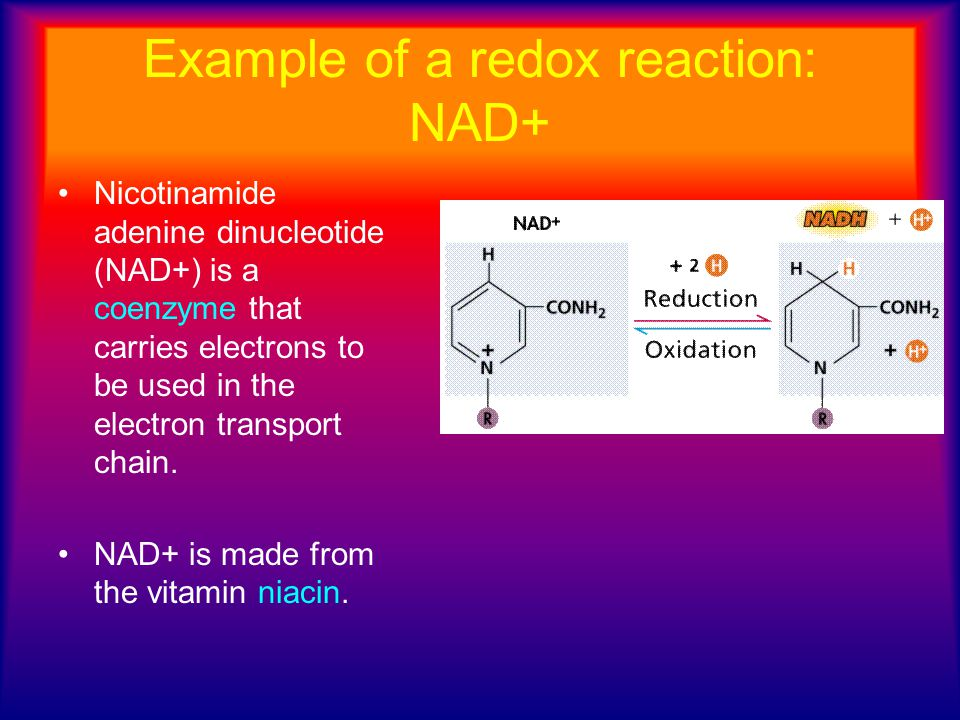 Example of a redox reaction: NAD+