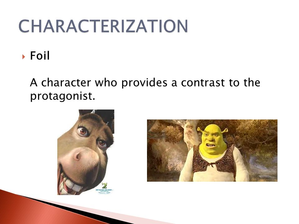 CHARACTERIZATION Foil A character who provides a contrast to the protagonist.