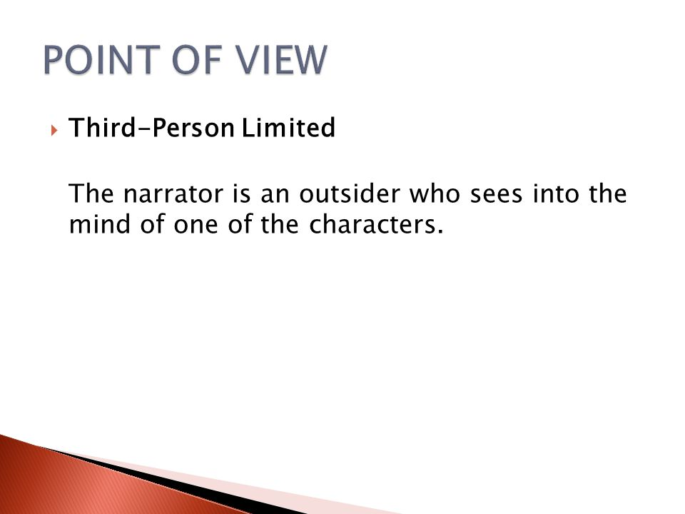 POINT OF VIEW Third-Person Limited
