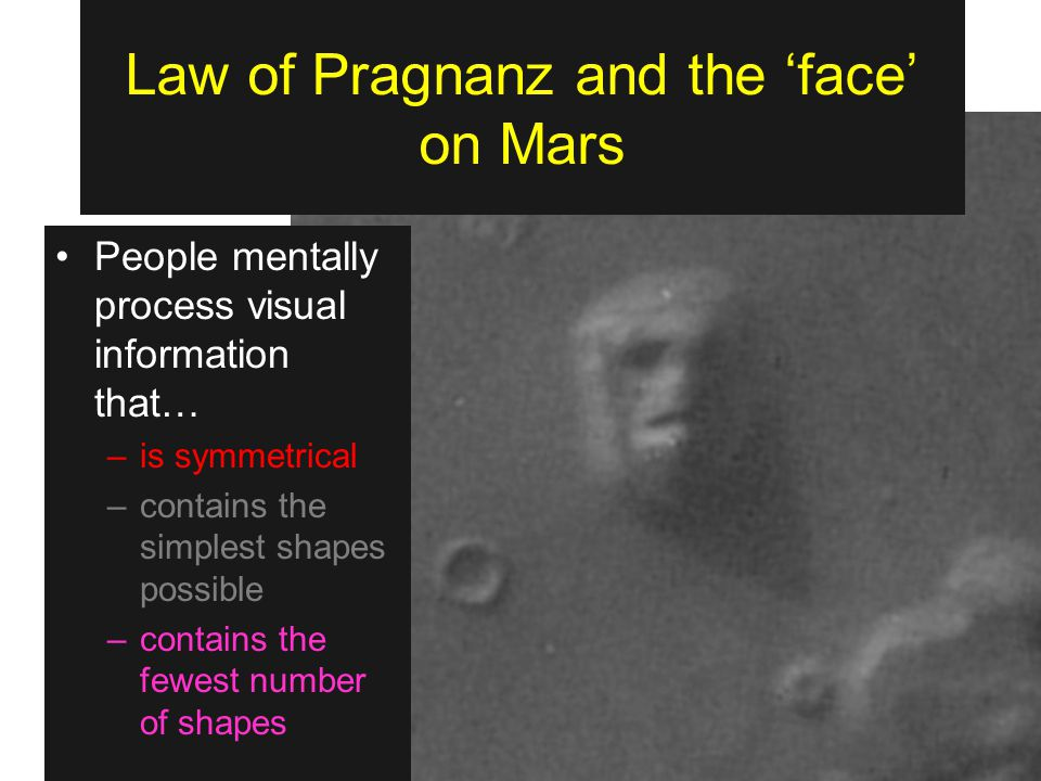 Law of Pragnanz and the 'face' on Mars